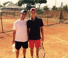 Jaume Santó con Mathieu Vaissade durante un entrenamiento en Julio de 2015